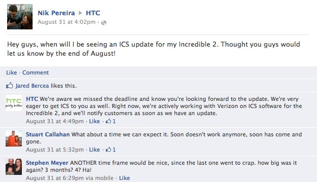 "HTC: ""Sorry, the Incredible 2 update is also running late"""