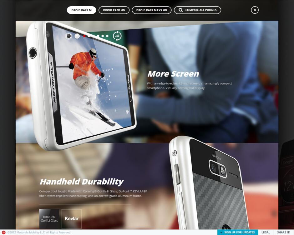 """Dedicated """"RAZR"""" site shows off the DROID RAZR M, RAZR HD, and RAZR MAXX HD"""