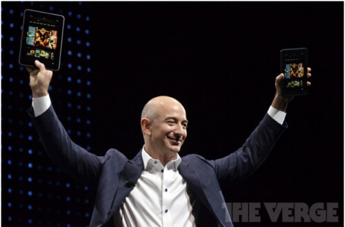 Jeff Bezos introducing the new HD tablets.