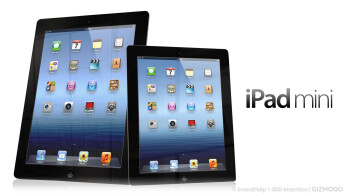 A mock-up showing how big the iPad mini might appear compared to the full-sized tablet