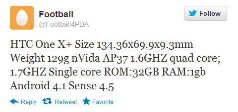 Is the HTC One X+ a sequel to HTC's flagship phone? - How tweet it is: HTC One X+ specs go public on XDA member's Twitter account