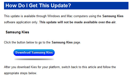 The ICS update for the Samsung Captivate Glide is not OTA - Samsung Captivate Glide gets its Ice Cream Sandwich update