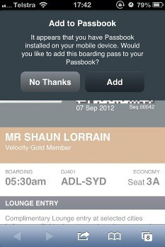 Mobile boarding tickets already working in iOS Passbook