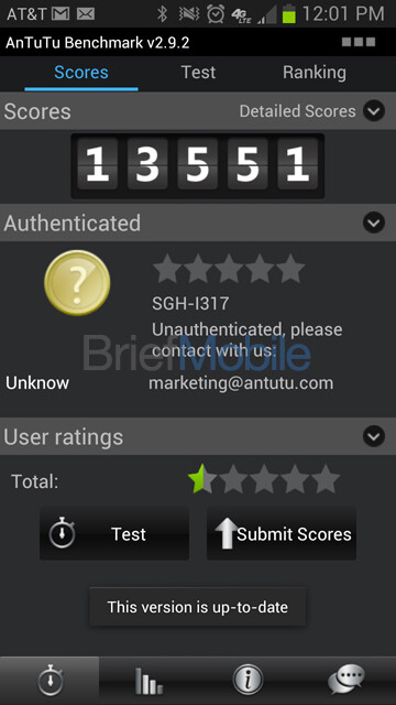 Screenshots and benchmark tests from the AT&T Samsung GALAXY Note II