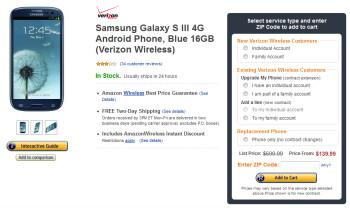 Amazon has slashed the price of the Verizon version of the Samsung Galaxy S III