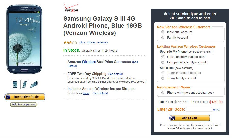Amazon has slashed the price of the Verizon version of the Samsung Galaxy S III - Amazon cuts Verizon's Samsung Galaxy S III to $139.99 for new customers or $149.99 for upgrades