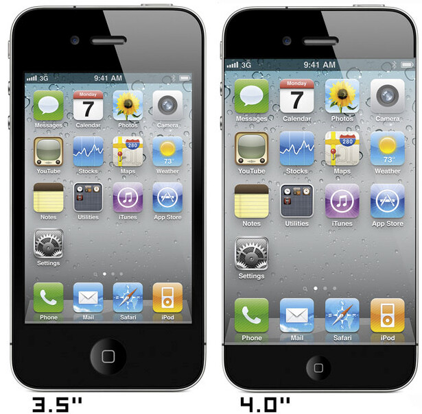 Comparing the size of the old Apple iPhone screen with the expected larger new one (R) - Apple looks to launch Apple iPhone 5 globally alongside U.S. release?