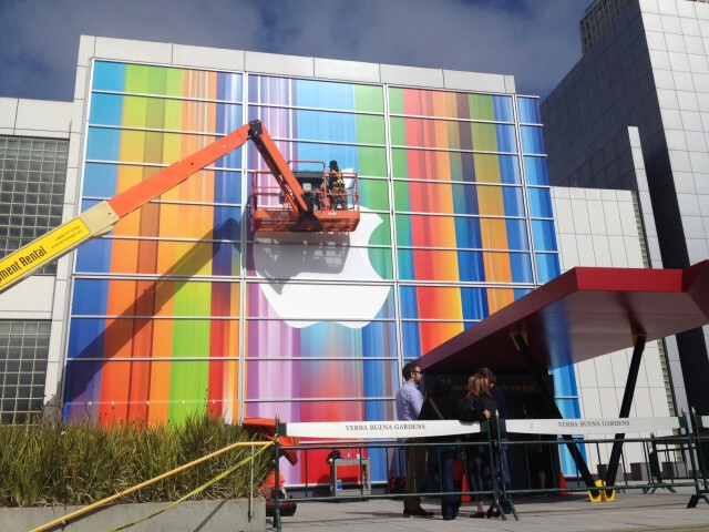 Preparing the Yerba Buena Center for the Arts - Apple preparing for September 12th event