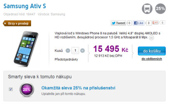 The Samsung ATIV S can be pre-ordered in the Czech Republic (pictured above) and in Switzerland