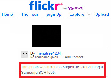 A picture on Flickr said to be taken with the SCH-i605 was later removed - Big News: Report says 5.5 inch Samsung GALAXY Note II coming to Verizon