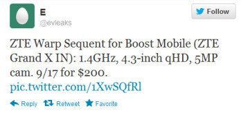 This tweet passes along some specs of the rumored ZTE Warp Sequent