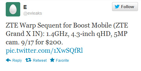 This tweet passes along some specs of the rumored ZTE Warp Sequent - Less lofty version of the ZTE Grand X IN said to be coming to Boost Mobile at 'Warp' speed