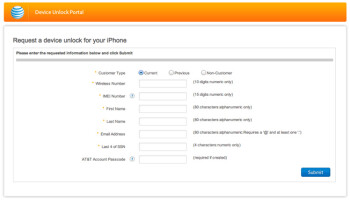 You can request that your AT&T Apple iPhone get unlocked using a online request form