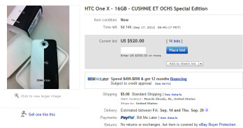 The Limited Edition HTC One X is up for bids on eBay