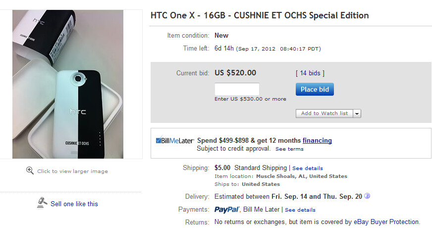 The Limited Edition HTC One X is up for bids on eBay - Limited edition HTC One X for AT&T, designed by Cushnie Et Ochs, up for bids on eBay