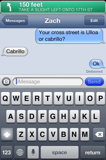 On iOS 6 you can still get turn by turn directions at the top of the screen while you are texting