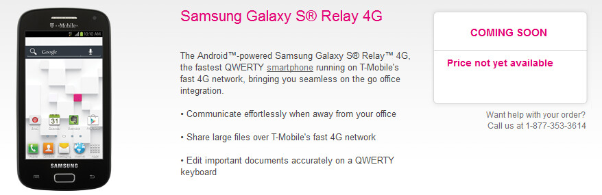 The Samsung Galaxy S Relay 4G is now up on T-Mobile's site - Has T-Mobile's web site mistakenly given the Samsung Galaxy S Relay 4G an S4 processor?