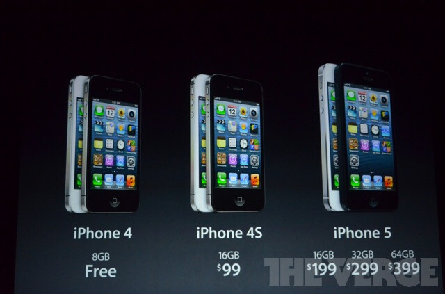 The iPhone 4 goes free, 4S is $99, and a 16GB iPhone 5 will run you $199, preorders start Friday