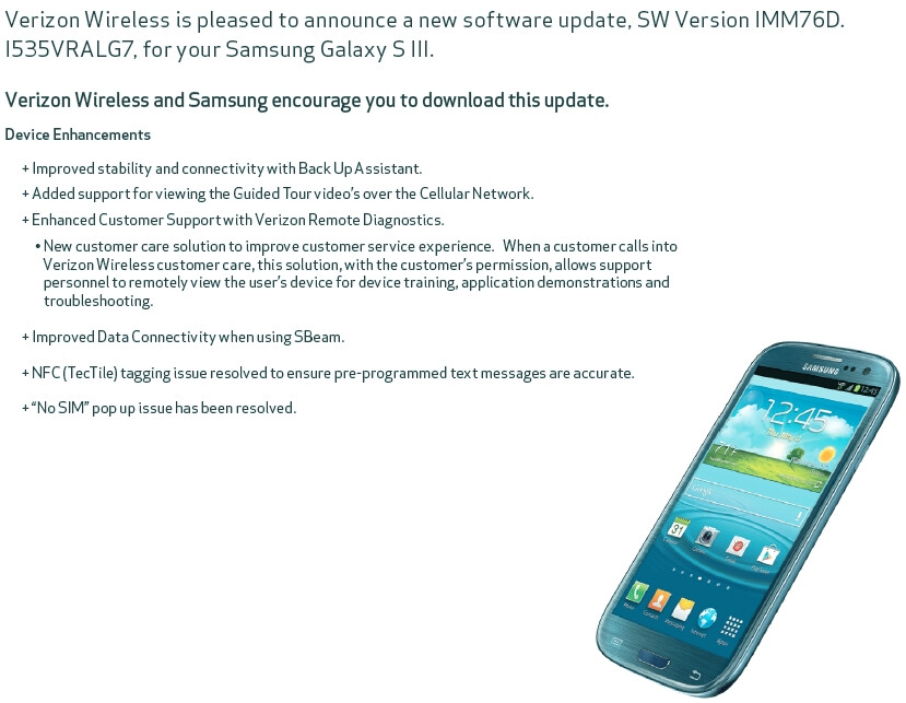 First software update coming to Verizon's Samsung Galaxy S III