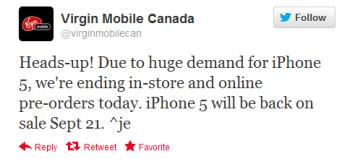 Virgin Mobile Canada halts Apple iPhone 5 pre-orders