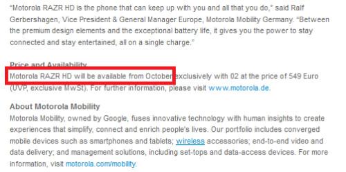 The Motorola RAZR HD will launch in Germany next month - Motorola says it will launch Motorola RAZR HD next month in Germany, will Verizon join them?