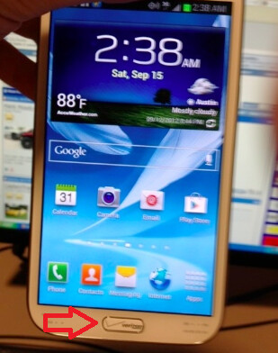 Verizon's Samsung GALAXY Note II units have a branded home button