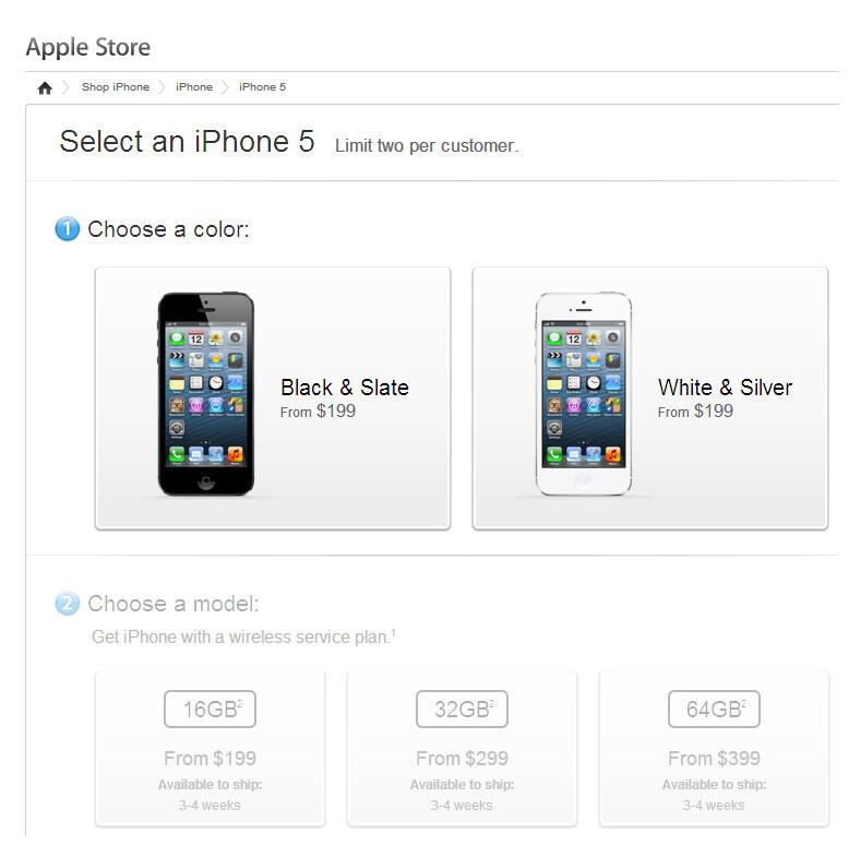 iPhone 5 pre-orders now ship in 3-4 weeks