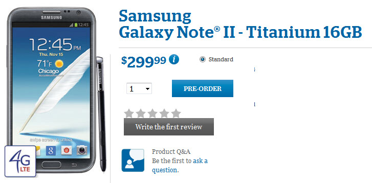U.S. Cellular is taking pre-orders for the Samsung GALAXY Note II - U.S. Cellular's Samsung GALAXY Note II pre-order page is up; device is $299.99 with a 2-year pact
