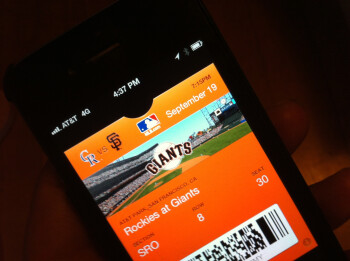 A Passbook ticket to a San Francisco Giants game