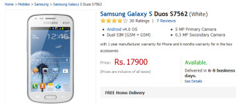 The Samsung Galaxy S Dus S7562 is now available in India