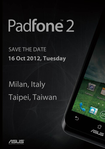 Invitation to the dual ASUS Padfone 2 event