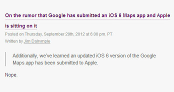 Google Maps for iOS may have not been submitted to Apple yet