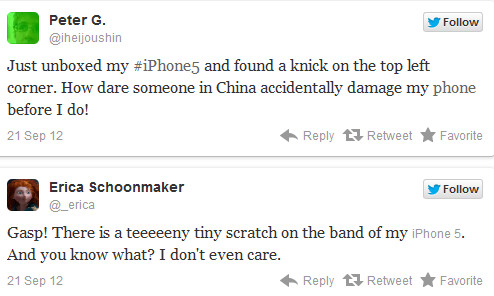 Tweets from Apple iPhone 5 buyers - Some new Apple iPhone 5 units are coming out of the box with scuff marks and dings