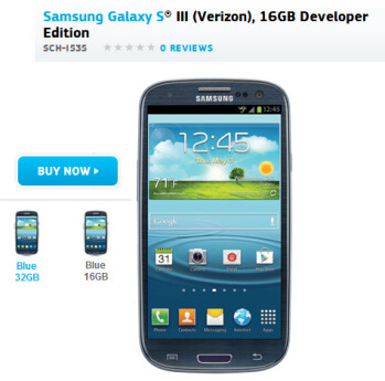 The Samsung Galaxy S III Developer Edition can be bought from Samsung