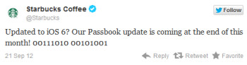 Starbucks tweets about its inclusion in Passbook