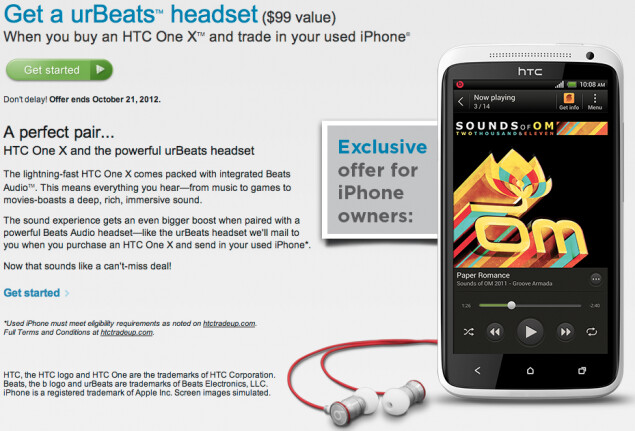 HTC will send you a pair of urBeats earphones for your old Apple iPhone, with the purchase of the HTC One X - Buy the HTC One X, trade in your old Apple iPhone and HTC will give you a free urBeats headset
