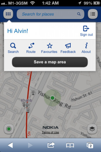 Nokia Maps mobile web site on the Apple iPhone