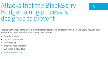 One of the pages belonging to the Security Technical Overview, dealing with the BlackBerry Bridge app 2.1