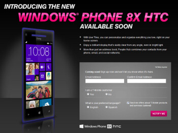"HTC Windows Phone 8X now officially confirmed for T-Mobile, ""coming soon"""