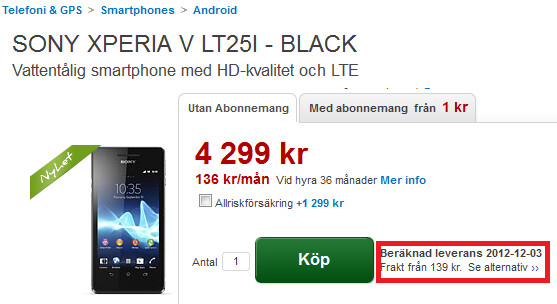 The Sony Xperia V is up for pre-order at Dustin.de - Sony's H2O resistant Sony Xperia V expected to ship in early December