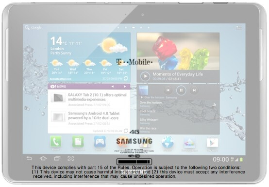 After superimposing a picture of the tablet on the diagram, it looks like the FCC welcomed the Samsung GALAXY Tab 2 (10.1) - Samsung Galaxy Tab 2 (10.1) for T-Mobile visits the FCC