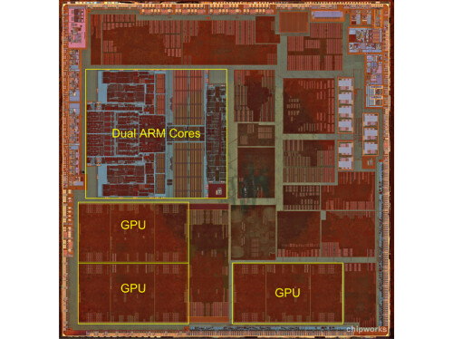 Two Apple-designed ARM cores and tri-core PowerVR GPU