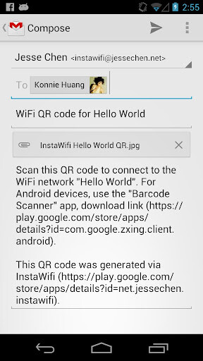 Email QR codes