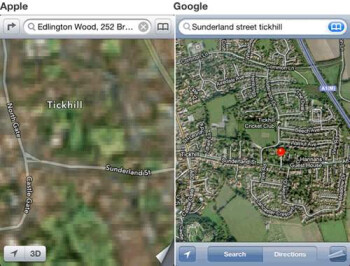 Look at the same location location on Apple Maps (L) and Google Maps. Any questions?