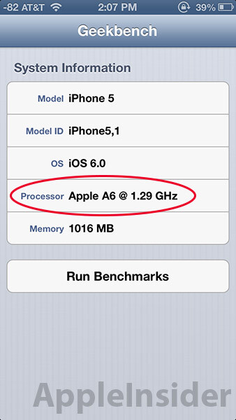 Apple's handmade A6 processor in the iPhone 5 clocked at 1.3GHz, updated benchmark reveals