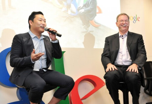 Google's Eric Schmidt busts a move with PSY, Gangnam Style