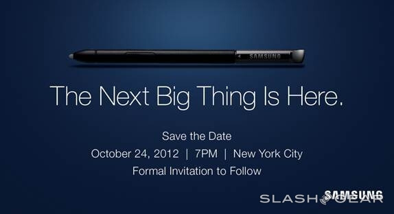 """The Samsung GALAXY Note II event will take place October 24th - Samsung's """"Next Big Thing"""" to be revealed in the Big Apple on October 24th"""