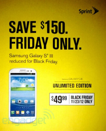 Get the Samsung Galaxy S III from Sprint on Black Friday for only $49.99