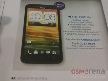 The HTC One X+ appears on an O2 sales flyer