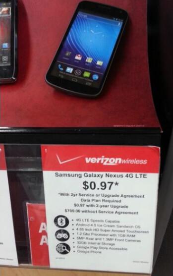 Walmart quietly selling the Verizon Galaxy Nexus for $0.97